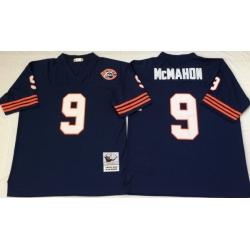 Men Chicago Bears 9 Jim McMahon Navy M&N Throwback Jersey