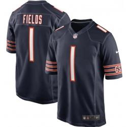 Men Nike Justin Fields Navy Chicago Bears 2021 NFL Draft First Round Pick Game Jersey