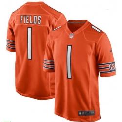 Men Nike Justin Fields Orange Chicago Bears 2021 NFL Draft First Round Pick Alternate Game Jersey