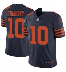 Mens Nike Chicago Bears 10 Mitchell Trubisky Navy Blue Alternate Vapor Untouchable Limited Player NFL Jersey