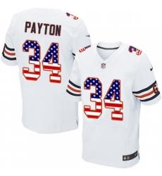 Mens Nike Chicago Bears 34 Walter Payton Elite White Road USA Flag Fashion NFL Jersey