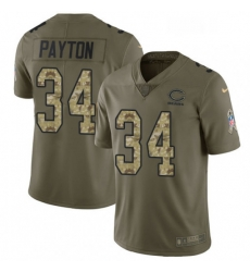 Mens Nike Chicago Bears 34 Walter Payton Limited OliveCamo Salute to Service NFL Jersey