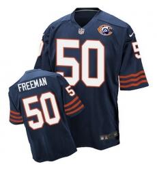 Nike Bears #50 Jerrell Freeman Navy Blue Throwback Mens Stitched NFL Elite Jersey