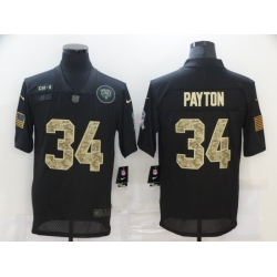 Nike Chicago Bears 34 Walter Payton Black Camo 2020 Salute To Service Limited Jersey
