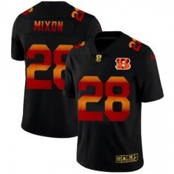 Cincinnati Bengals 28 Joe Mixon Men Black Nike Red Orange Stripe Vapor Limited NFL Jersey