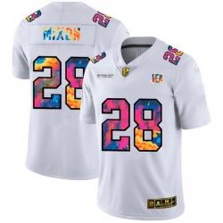 Cincinnati Bengals 28 Joe Mixon Men White Nike Multi Color 2020 NFL Crucial Catch Limited NFL Jersey