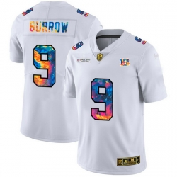 Cincinnati Bengals 9 Joe Burrow Men White Nike Multi Color 2020 NFL Crucial Catch Limited NFL Jersey