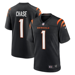 Men Cincinnate Bengals Ja'Marr Chase 1 Black Vapor Limited Jersey