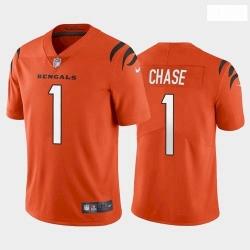 Men Cincinnati Bengals #1 Ja'Marr Chase Orange 2021 Draft Jersey