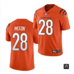 Men Cincinnati Bengals #28 Joe Mixon 2021 Orange Vapor Limited Stitched NFL Jersey