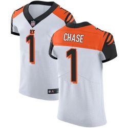 Nike Cincinnati Bengals 1 Ja 27Marr Chase White Men Stitched NFL New Elite Jersey