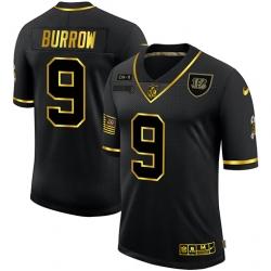 Nike Cincinnati Bengals 9 Joe Burrow Black Gold 2020 Salute To Service Limited Jersey