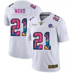 Cleveland Browns 21 Denzel Ward Men White Nike Multi Color 2020 NFL Crucial Catch Limited NFL Jersey