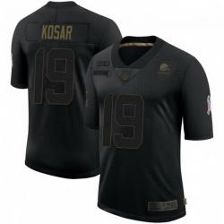 Men Cleveland Browns 19 Bernie Kosar Black 2020 Salute To Service Limited Jersey