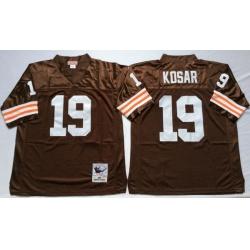Men Cleveland Browns 19 Bernie Kosar Brown M&N Throwback Jersey