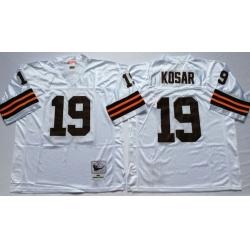 Men Cleveland Browns 19 Bernie Kosar White M&N Throwback Jersey