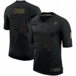 Men Cleveland Browns 24 Nick Chubb Black 2020 Salute To Service Jersey