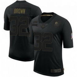 Men Cleveland Browns 32 Jim Brown 2020 Salute To Service Limited Black Jersey