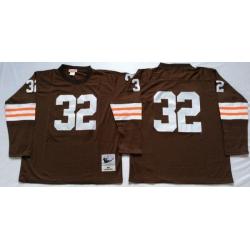 Men Cleveland Browns 32 Jim Brown Brown Long Sleeve M&N Throwback Jersey