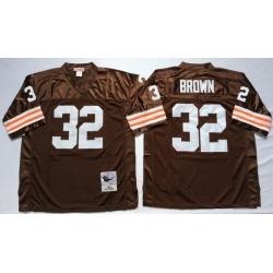 Men Cleveland Browns 32 Jim Brown Brown M&N Throwback Jersey