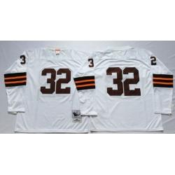 Men Cleveland Browns 32 Jim Brown White Long Sleeve M&N Throwback Jersey