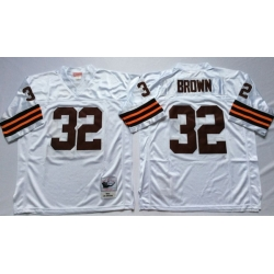 Men Cleveland Browns 32 Jim Brown White M&N Throwback Jersey