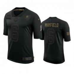 Men Cleveland Browns 6 Baker Mayfield Black 2020 Black Salute To Service Jersey