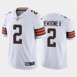 Men Cleveland Browns Greg Newsome II White Brown 2021 Draft Jersey