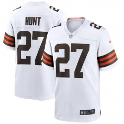 Men Cleveland Browns Kareem Hunt 27 White Brown 2021 Draft Jersey