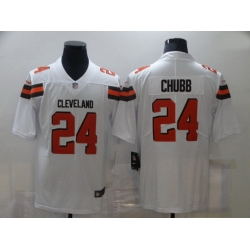 Men Nike Cleveland Browns 24 Nick Chubb White Vapor Untouchable Limited Jersey