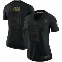 Women Cleveland Browns 21 Denzel Ward Black 2020 Salute To Service Jersey