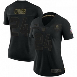 Women Cleveland Browns 24 Nick Chubb Black 2020 Salute To Service Jersey