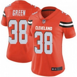 Women Cleveland Browns 38 A.J. Green Orange Vapor Limited Jersey