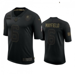 Youth Cleveland Browns 6 Baker Mayfield Black 2020 Black Salute To Service Jersey