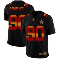 Dallas Cowboys 90 Demarcus Lawrence Men Black Nike Red Orange Stripe Vapor Limited NFL Jersey