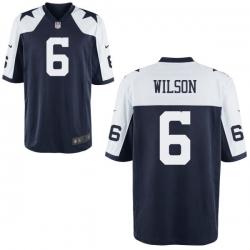 Men Nike Dallas Cowboys Wilson 6 Blue Thanksgivens Vapor Limited NFL Jersey