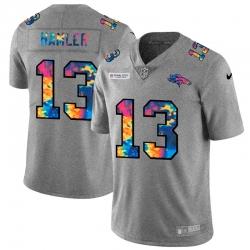Denver Broncos 13 KJ Hamler Men Nike Multi Color 2020 NFL Crucial Catch NFL Jersey Greyheather