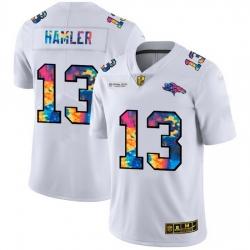 Denver Broncos 13 KJ Hamler Men White Nike Multi Color 2020 NFL Crucial Catch Limited NFL Jersey