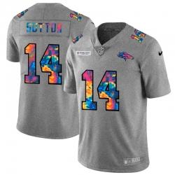 Denver Broncos 14 Courtland Sutton Men Nike Multi Color 2020 NFL Crucial Catch NFL Jersey Greyheather