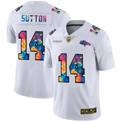 Denver Broncos 14 Courtland Sutton Men White Nike Multi Color 2020 NFL Crucial Catch Limited NFL Jersey