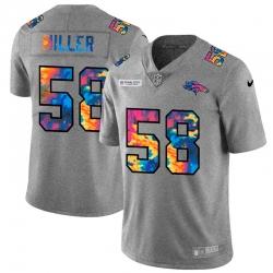 Denver Broncos 58 Von Miller Men Nike Multi Color 2020 NFL Crucial Catch NFL Jersey Greyheather