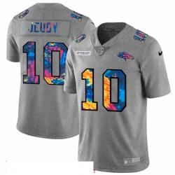 Men Denver Broncos 10 Jerry Jeudy Men Nike Multi Color 2020 NFL Crucial Catch NFL Jersey Greyheather