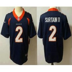 Men Denver Broncos 2 Patrick Surtain II Navy Blue 2021 Vapor Untouchable Stitched NFL Nike Limited Jersey
