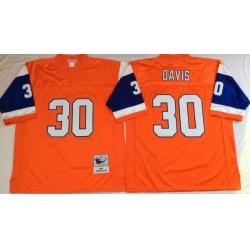 Men Denver Broncos 30 Terrell Davis Orange M&N Throwback Jersey