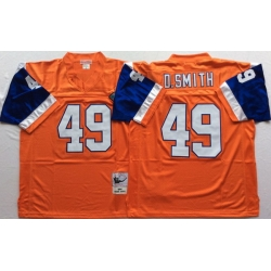 Men Denver Broncos 49 Dennis Smith Orange M&N Throwback Jersey
