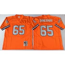 Men Denver Broncos 65 Gary Zimmerman Orange M&N Throwback Jersey