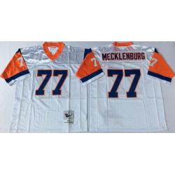 Men Denver Broncos 77 Karl Mecklenburg White M&N Throwback Jersey