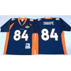 Men Denver Broncos 84 Shannon Sharpe Navy M&N Throwback Jersey