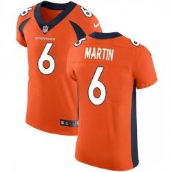 Nike Denver Broncos 6 Sam Martin Orange Team Color Men Stitched NFL Vapor Untouchable Elite Jersey