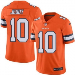 Youth Nike Broncos 10 Jerry Jeudy Orange Men Stitched NFL Limited Rush Jersey